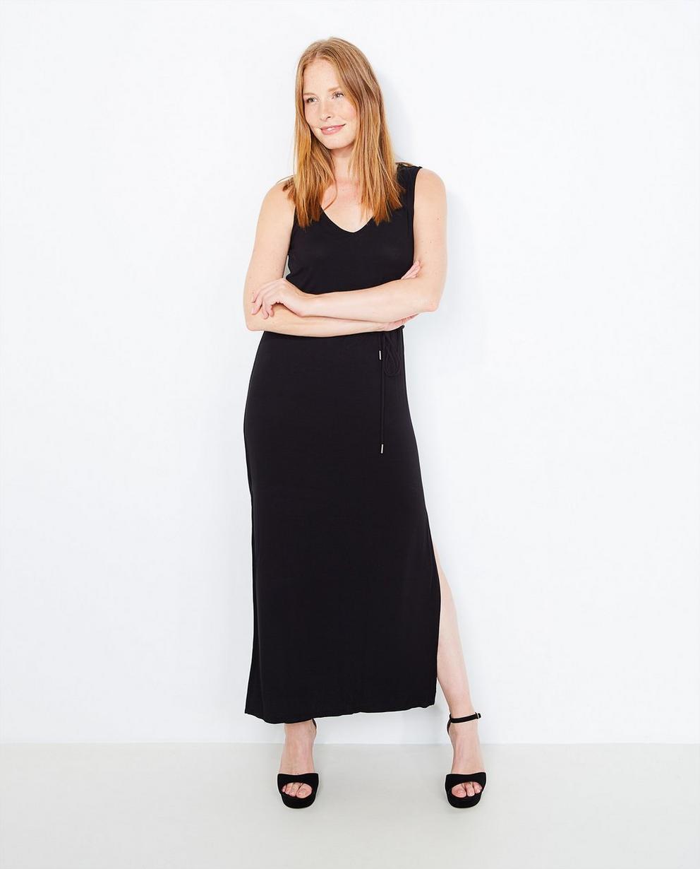 Zwarte maxi-jurk - met kanten rug - JBC